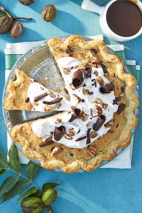 "<p>We suggest topping this pie with a heavy dollop of whip cream and chocolate shavings. </p><p><strong><a href=""https://www.countryliving.com/food-drinks/recipes/a45306/bourbon-pecan-pie-recipe/"" rel=""nofollow noopener"" target=""_blank"" data-ylk=""slk:Get the recipe."" class=""link rapid-noclick-resp"">Get the recipe.</a></strong></p>"