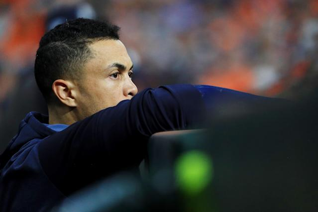 Giancarlo Stanton looks on in game two of the American League Championship Series against the Houston Astros at Minute Maid Park on October 13, 2019 in Houston, Texas. (Getty Images)