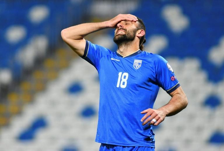 Vedat Muriqi of Kosovo, whose team play Spain on Wednesday in a World Cup qualifier overshadowed by a diplomatic spat