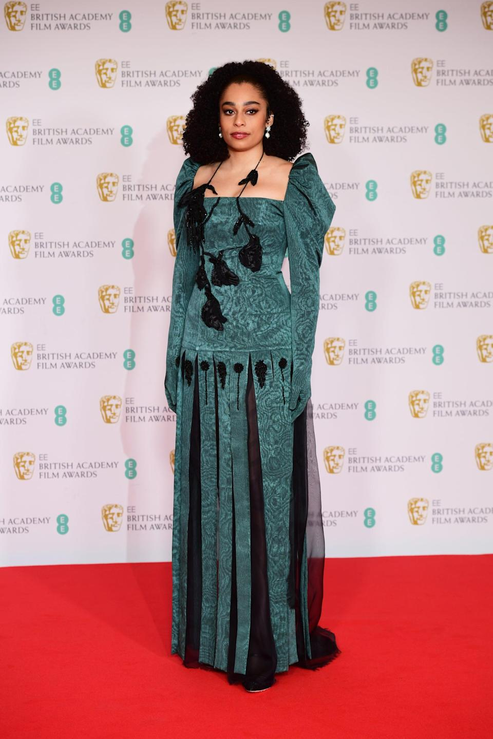 Celeste Epiphany Waite arrives for the EE BAFTA Film Awards at the Royal Albert Hall in London. Picture date: Sunday April 11, 2021. (Photo by Ian West/PA Images via Getty Images)