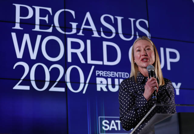 Belinda Stronach, chairman and president of the Stronach Group, speaks during the draw for the Pegasus World Cup Horse Race, Wednesday, Jan. 22, 2020, in Hallandale Beach, Fla. The race will run Saturday, Jan. 25 at Gulfstream Park in Hallandale Beach. (AP Photo/Wilfredo Lee)