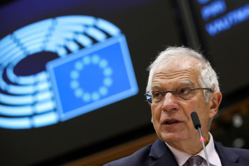 FILE PHOTO: EU Foreign Policy Chief Josep Borrell speaks on relations with the U.S. during a plenary session of the European Parliament in Brussels