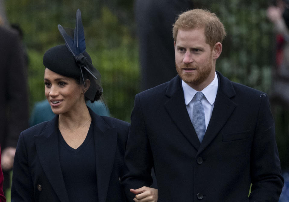 KING'S LYNN, ENGLAND - DECEMBER 25: Prince Harry, Duke of Sussex and Meghan, Duchess of Sussex attend Christmas Day Church service at Church of St Mary Magdalene on the Sandringham estate on December 25, 2018 in King's Lynn, England. (Photo by UK Press Pool/UK Press via Getty Images)