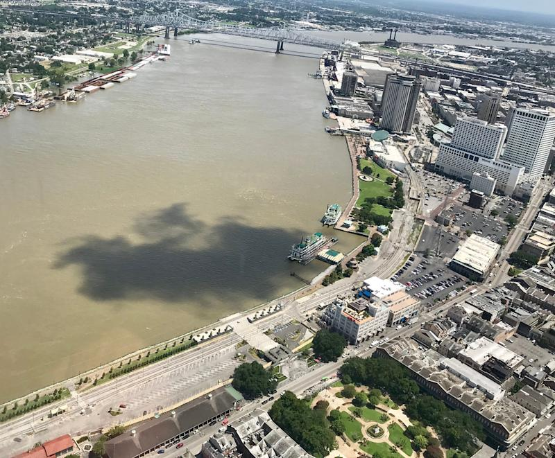 he swollen Mississippi River, shown July 11. Louisiana continues to sink with no help in sight, according to the latest National Geodetic Survey conducted with the help of Louisiana State University. New Orleans has fallen almost 6 inches since the first survey was conducted in 1989.