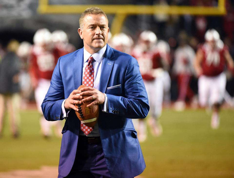 Kirk Herbstreit passed for 2,437 yards as a quarterback for Ohio State from 1989 to '92.
