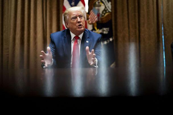 PHOTO: U.S. President Donald Trump speaks during a meeting with African-American supporters in the Cabinet Room of the White House in Washington, D.C., June 10, 2020. (Doug Mills/The New York Times/Bloomberg via Getty Images)
