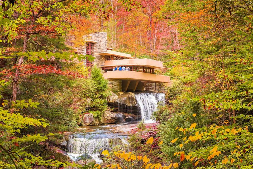 """<p>From historic covered bridges to a waterfall-hovering home designed by Frank Lloyd Wright, Pennsylvania's southwestern <a href=""""https://www.laurelhighlands.org/articles/post/fall-foliage-festivals-and-fun-in-pennsylvanias-laurel-highlands/"""" rel=""""nofollow noopener"""" target=""""_blank"""" data-ylk=""""slk:Laurel Highlands"""" class=""""link rapid-noclick-resp"""">Laurel Highlands</a> have plenty of sights to see, and its foliage matches up. Take a hike on one of its many decorated trails, or for an aerial view, enjoy the <a href=""""https://www.laurelhighlands.org/outdoors/activities/zip-lines/"""" rel=""""nofollow noopener"""" target=""""_blank"""" data-ylk=""""slk:canopy zipline tour"""" class=""""link rapid-noclick-resp"""">canopy zipline tour</a> sometime between late September and mid-October.</p>"""