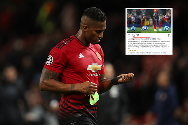 Antonio Valencia could be in hot water with manager Jose Mourinho after liking an Instagram post