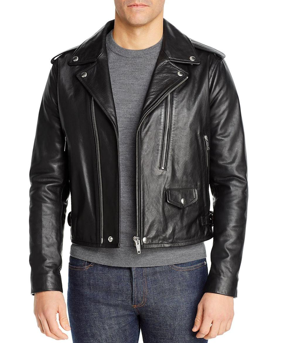 """<p><strong>The Kooples</strong></p><p>bloomingdales.com</p><p><strong>$313.25</strong></p><p><a href=""""https://go.redirectingat.com?id=74968X1596630&url=https%3A%2F%2Fwww.bloomingdales.com%2Fshop%2Fproduct%2Fthe-kooples-cow-irish-cropped-leather-jacket%3FID%3D3601184&sref=https%3A%2F%2Fwww.townandcountrymag.com%2Fstyle%2Ffashion-trends%2Fg32622659%2Fcool-jackets-for-men%2F"""" rel=""""nofollow noopener"""" target=""""_blank"""" data-ylk=""""slk:Shop Now"""" class=""""link rapid-noclick-resp"""">Shop Now</a></p><p>Nothing adds a little edge more than a motorcycle jacket. It's the ultimate day-to-night menswear piece. It looks just as great with a dress shirt and trousers as it does with a t-shirt and jeans. This one from The Kooples is accented with hardware, but the cropped waist and sharp tailoring keep things refined.</p>"""