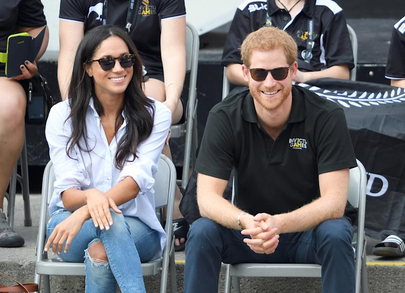 Meghan Markle wearing a Misha Nonoo shirt during her first public outing with Prince Harry back in 2017