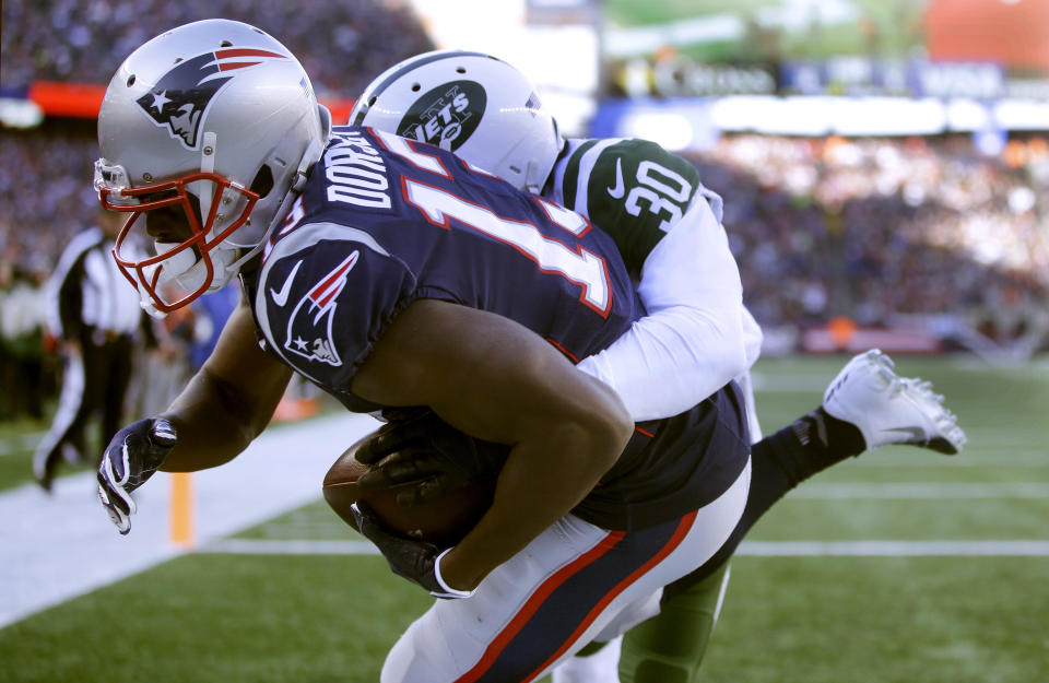 New England Patriots wide receiver Phillip Dorsett has become an important weapon for the team down the stretch. (AP)