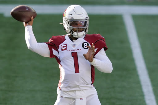 Arizona Cardinals quarterback Kyler Murray passes against the New England Patriots in the first half of an NFL football game, Sunday, Nov. 29, 2020, in Foxborough, Mass. (AP Photo/Elise Amendola)