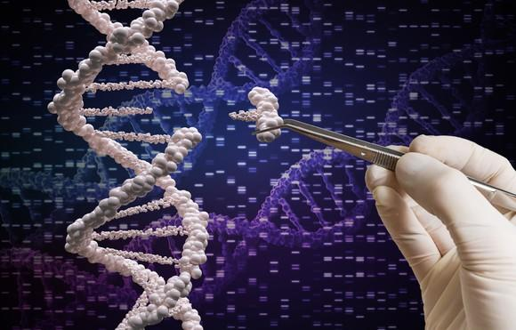 Hand tweezing out gene molecules from a DNA strand