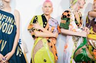 Matty Bovan kicked off London Fashion Week with models marked by a rainbow of hair colors, carried off pre-show by colorist Josh Wood.