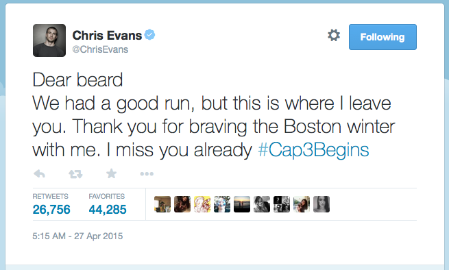 Chris Evans tweeted out this farewell message to his whiskers as filming commenced. Principal photography started April 30 at Pinewood Studios in Atlanta. In addition to location filming in and around the city, the production will visit Germany, Puerto Rico, and Iceland.