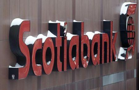 Snow covers the Scotiabank logo at the Bank of Nova Scotia headquarters in Toronto