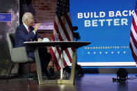 President-elect Joe Biden attends a briefing on the economy at The Queen theater, Monday, Nov. 16, 2020, in Wilmington, Del. (AP Photo/Andrew Harnik)