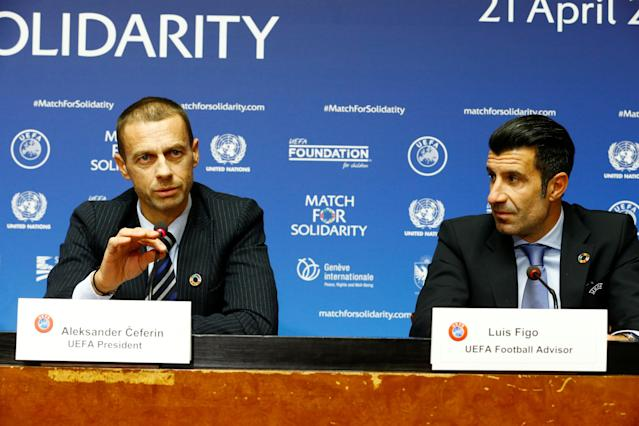 Union of European Football Associations (UEFA) President Aleksander Ceferin and UEFA's football advisor and former footballer Luis Figo attend a news conference about a charity football match at the U.N. headquarters in Geneva, Switzerland February 13, 2018. REUTERS/Pierre Albouy
