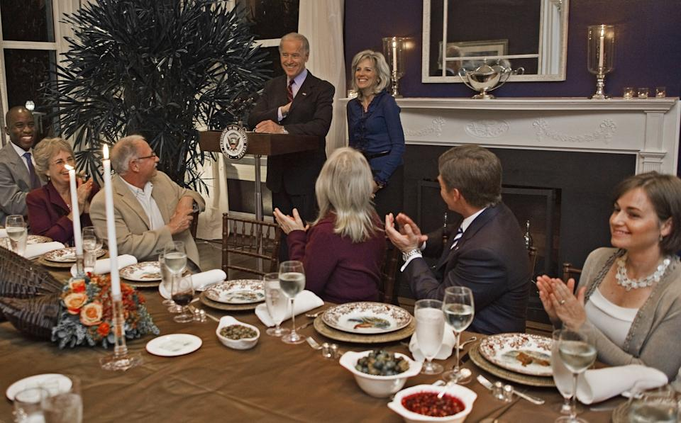 The Bidens host Thanksgiving dinner at the residence with Fisher House Foundation service members and their families on Nov. 23, 2009.