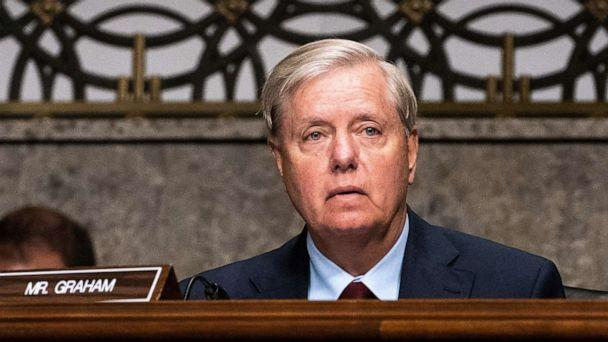 PHOTO: Sen. Lindsey Graham listens during a hearing with the Senate Appropriations Subcommittee on Labor, Health and Human Services, Education, and Related Agencies on Capitol Hill, in Washington, Sept. 16, 2020. (Pool/Reuters)
