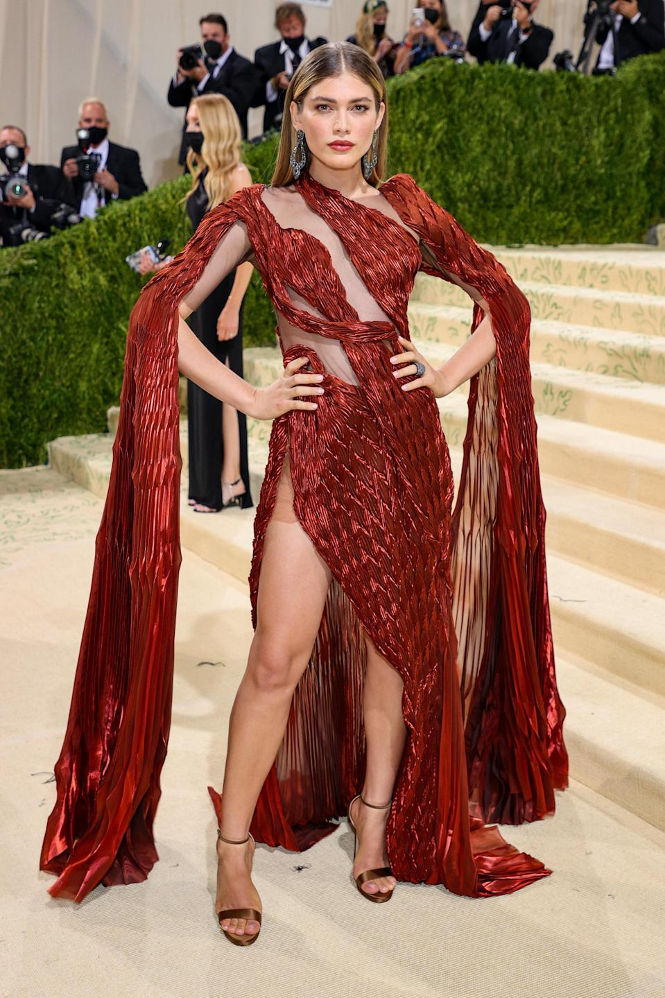 """<h1 class=""""title"""">Valentina Sampaio, The 2021 Met Gala Celebrating In America: A Lexicon Of Fashion - Arrivals</h1><cite class=""""credit"""">Getty</cite>"""