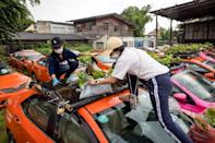 Staff for a taxi rental firm plant vegetables on the roof of one vehicle (AFP/Jack TAYLOR)