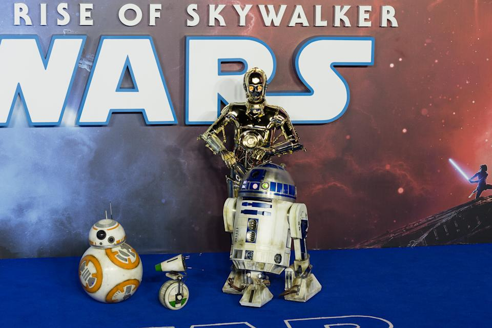 Robots D-O, BB-8, R2-D2 and C-3PO attend the European film premiere of 'Star Wars: The Rise of Skywalker' at Cineworld Leicester Square on 18 December, 2019 in London, England. (Photo by WIktor Szymanowicz/NurPhoto via Getty Images)