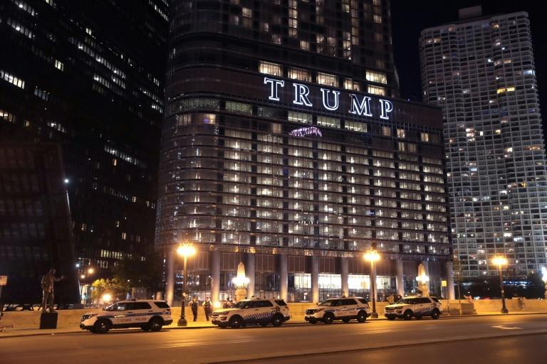 In a stunt carried out by a labor union, Trump Tower in Chicago was lit up with the name of Joe Biden, Donald Trump's rival for the White House