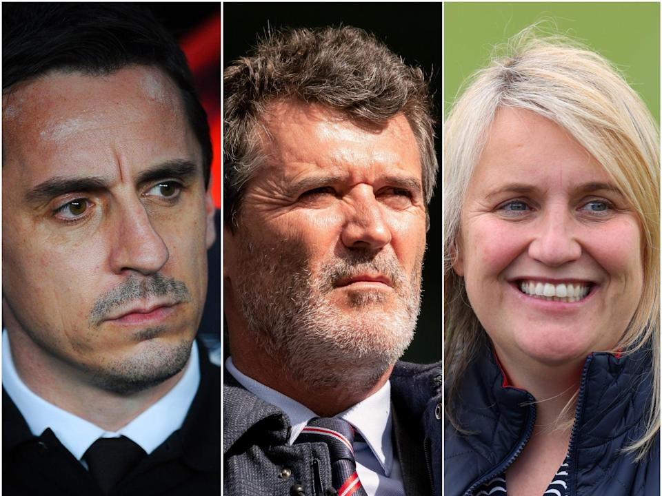 Gary Neville, Roy Keane and Emma Hayes (L-R) (Getty)