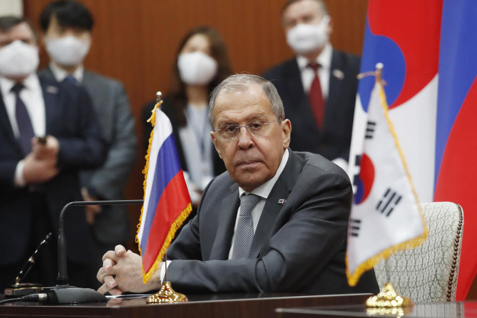Russian Foreign Minister Sergey Lavrov listens to South Korean Foreign Minister Chung Eui-yong's announcement during a joint announcement at the Foreign Ministry in Seoul, South Korea, Thursday, March 25, 2021. (AP Photo/Ahn Young-joon, Pool)