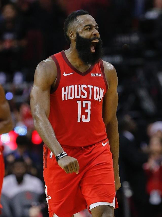 Houston's James Harden, seen here in a December 25 game against Oklahoma City, notched his record eighth straight game of at least 35 points and five assists in the Rockets' 113-101 NBA victory over the Memphis Grizzlies (AFP Photo/Bob Levey)