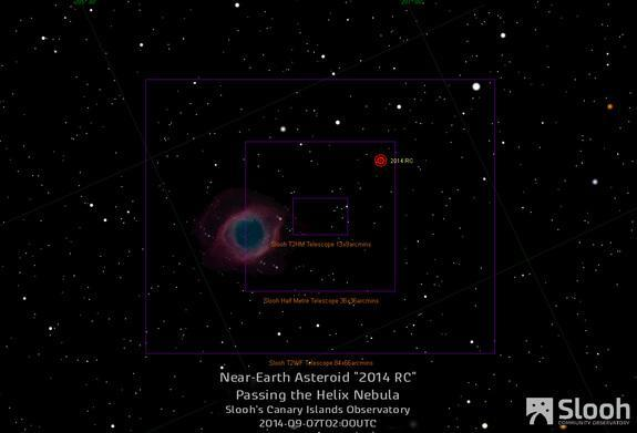 The online Slooh Community Observatory will track the near-Earth asteroid 2014 RC on Saturday, Sept. 6, one day ahead of the asteroid's closest approach to Earth on Sept. 7, 2014. The Helix nebula will also be in the field of view during the we