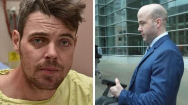Daniel Haworth, left, had a fractured skull and brain injury after a violent arrest by Calgary police Const. Trevor Lindsay, right. (Left, Court exhibit/right, supplied - image credit)