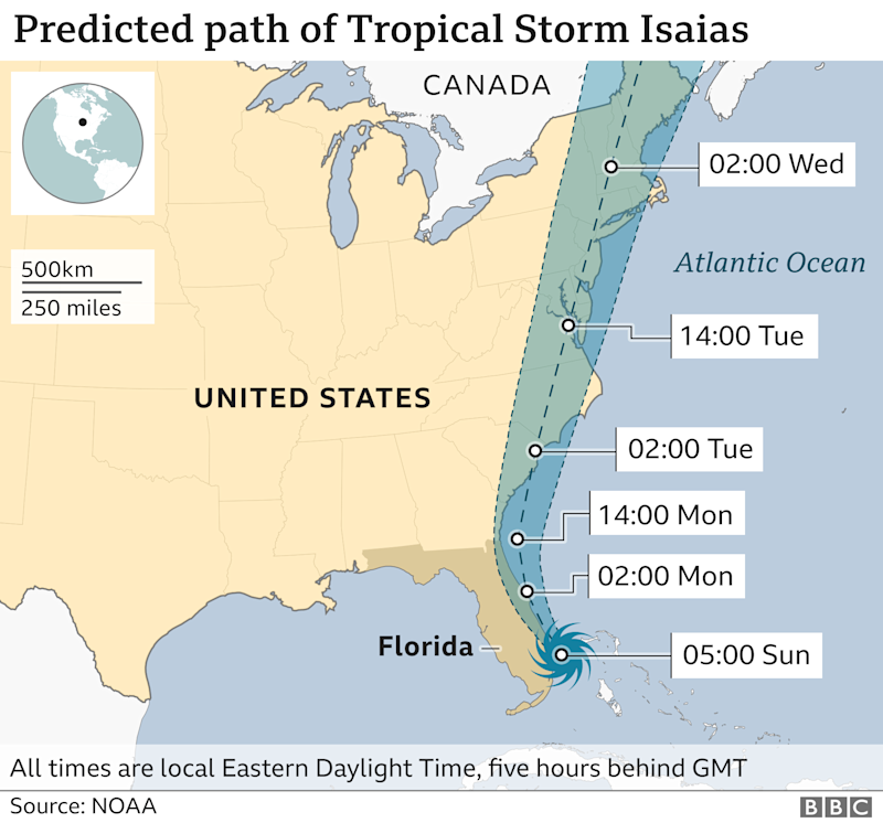 Graphic showing the predicted path of Tropical Storm Isaias as of 07:00 EDT, Sunday 2 August