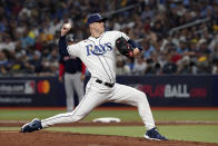 Tampa Bay Rays pitcher Matt Wisler throws to a Boston Red Sox batter during the fifth inning of Game 2 of a baseball American League Division Series, Friday, Oct. 8, 2021, in St. Petersburg, Fla. (AP Photo/Steve Helber)