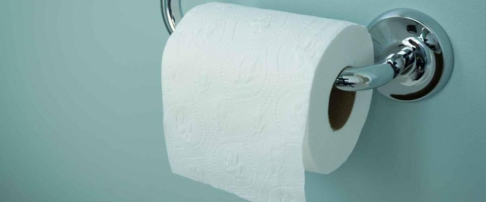 A white roll of soft toilet paper neatly hanging on a modern chrome holder on a light blue bathroom wall.