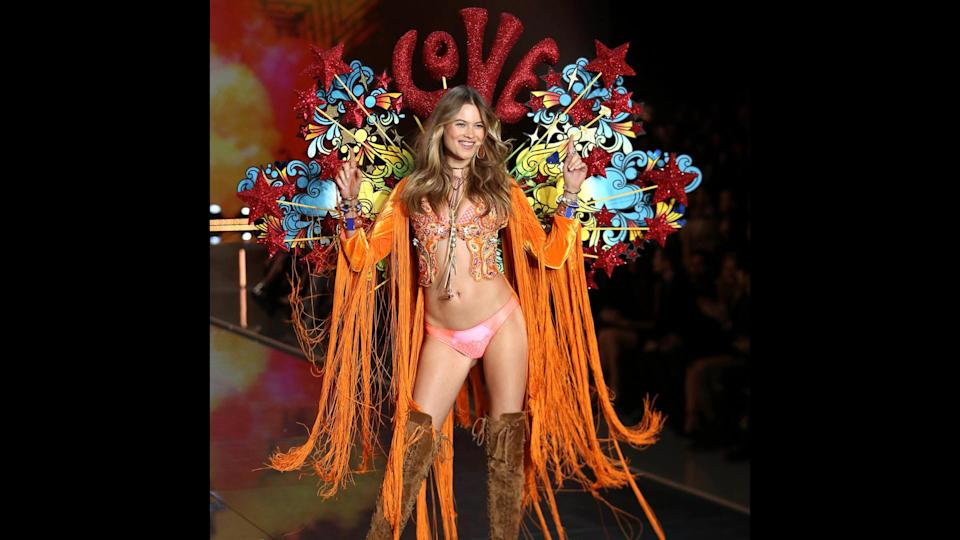 "<p>Behati Prinsloo walked the Victoria's Secret runway from 2007 to 2015, and has sat out the last two shows due to pregnancies — though she is still an official Angel, so she might be back next year. Prinsloo announced in September 2017 that she was pregnant with her second child by husband Adam Levine. The couple welcomed their first child, daughter Dusty Rose, in September 2016.</p> <p><em><strong>Related: <a href=""https://www.gobankingrates.com/net-worth/richest-celebrity-couples-right-now/?utm_campaign=489384&utm_source=yahoo.com&utm_content=19"" rel=""nofollow noopener"" target=""_blank"" data-ylk=""slk:25 Richest Celebrity Power Couples"" class=""link rapid-noclick-resp"">25 Richest Celebrity Power Couples </a></strong></em></p>"