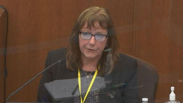 PHOTO: In this screen grab taken from video, Susan Neith, Minnesota Forensic Chemist, testifies at the trial of Derek Chauvin on April 7, 2021, in Minneapolis, Minn. (POOL via ABC News)