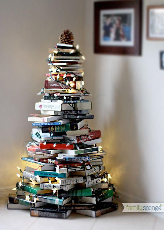 "<p>Pine is so 2017, anyway. Stack your books in the shape of a Christmas tree, then string some lights on them.</p><p>See more at <a href=""http://familysponge.com/create/artdiy/christmas-tree-made-from-books/"" rel=""nofollow noopener"" target=""_blank"" data-ylk=""slk:Family Sponge"" class=""link rapid-noclick-resp"">Family Sponge</a>.</p>"