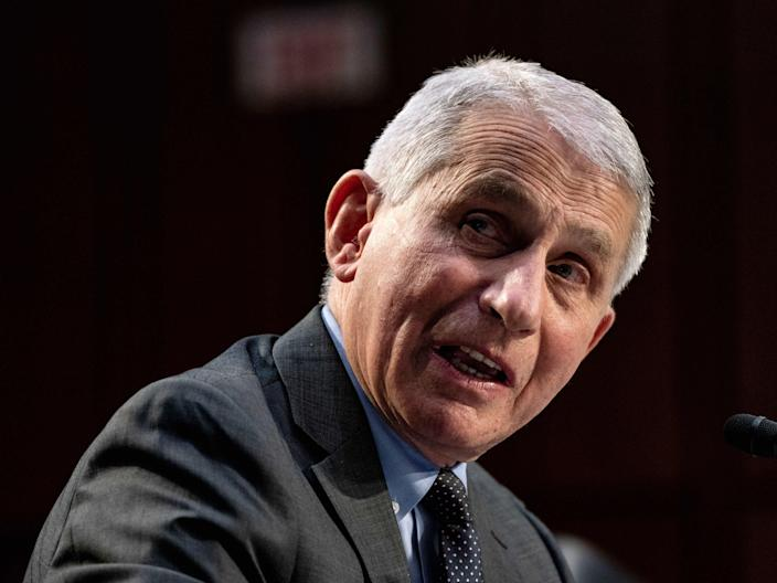 Anthony Fauci speaks at a hearing with the Senate Committee on Health on Capitol Hill on March 18, 2021. (Getty Images)