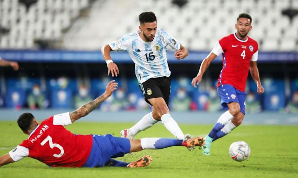 Nicolás González in action for Argentina this week against Chile in the Copa América