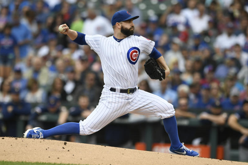 Chicago Cubs starter Tyler Chatwood delivers a pitch during the first inning of a baseball game against the Milwaukee Brewers, Sunday, Sept. 1, 2019, in Chicago. (AP Photo/Paul Beaty)