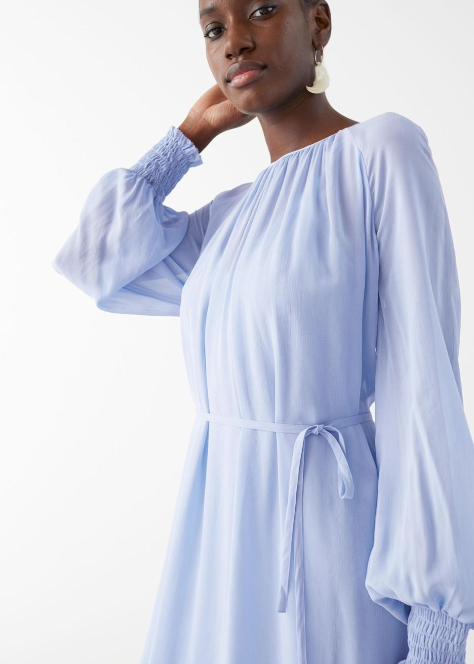 """<br> <br> <strong>& Other Stories</strong> Balloon Sleeve Midi Dress, $, available at <a href=""""https://go.skimresources.com/?id=30283X879131&url=https%3A%2F%2Fwww.stories.com%2Fen_usd%2Fclothing%2Fdresses%2Fmidi-dresses%2Fproduct.balloon-sleeve-midi-dress-blue.0899539003.html"""" rel=""""nofollow noopener"""" target=""""_blank"""" data-ylk=""""slk:& Other Stories"""" class=""""link rapid-noclick-resp"""">& Other Stories</a>"""