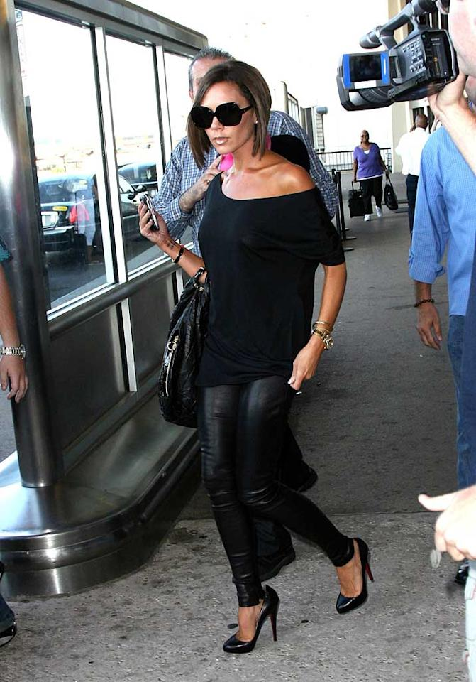 """Victoria Beckham arrived in New York for the annual fashion fete. Women's Wear Daily says the Spice Girl's debut couture collection is inspired by women of the past. A. Macpherson/<a href=""""http://www.splashnewsonline.com"""" target=""""new"""">Splash News</a> - September 5, 2008"""