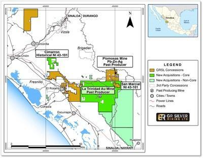 Figure 1   Location of Acquired Oro Gold Concessions (CNW Group/GR Silver Mining Ltd.)
