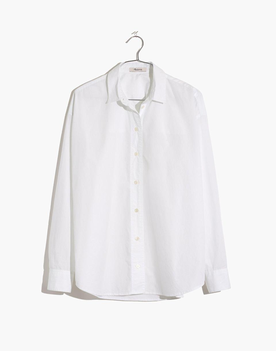 """<p><strong>Madewell</strong></p><p>madewell.com</p><p><strong>$79.50</strong></p><p><a href=""""https://go.redirectingat.com?id=74968X1596630&url=https%3A%2F%2Fwww.madewell.com%2Fpainter-shirt-MC811.html&sref=https%3A%2F%2Fwww.cosmopolitan.com%2Fstyle-beauty%2Ffashion%2Fg36065935%2Fmadewell-spring-sale-2021%2F"""" rel=""""nofollow noopener"""" target=""""_blank"""" data-ylk=""""slk:SHOP NOW"""" class=""""link rapid-noclick-resp"""">SHOP NOW</a></p><p><strong><del>$80</del> $64 (20% off)</strong></p><p>A relaxed white button-down is a must for every capsule wardrobe. </p>"""