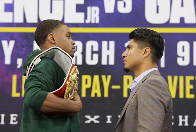 Errol Spence Jr. is putting his IBF welterweight title and his undefeated record on the line vs. Mikey Garcia on Saturday at AT&T Stadium in Arlington, Texas. (Jason Janik/Fox Sports)