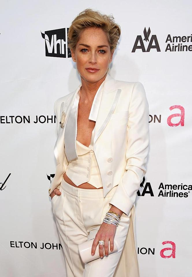 """<a href=""""http://movies.yahoo.com/movie/contributor/1800012231"""">Sharon Stone</a> attends the 16th Annual Elton John AIDS Foundation Oscar Party at the Pacific Design Center in West Hollywood - 02/24/2008"""