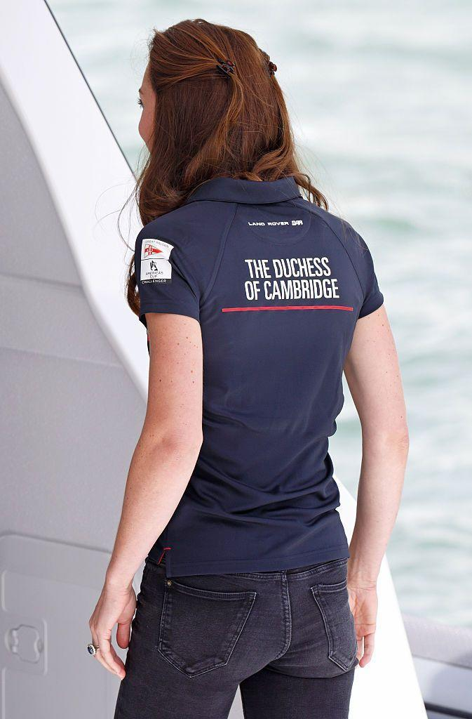 """<p>Kate wore the most royal Polo shirt possible today in Portsmouth at the <a href=""""https://www.americascup.com/"""" rel=""""nofollow noopener"""" target=""""_blank"""" data-ylk=""""slk:America's Cup"""" class=""""link rapid-noclick-resp"""">America's Cup</a> race.</p>"""