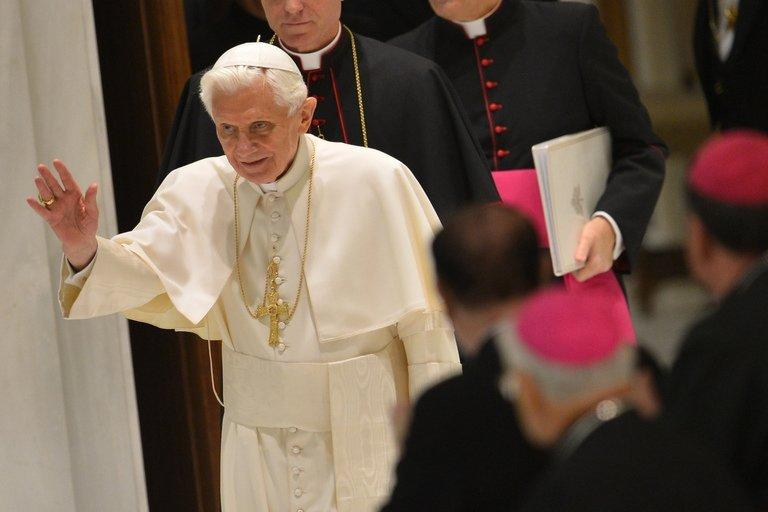 "Pope Benedict XVI arrives for his weekly general audience on January 9, 2013 at the Vatican. The Vatican's latest official painter said the pope was a ""sensitive"" character who felt the importance of symbolism in painting ""very deeply"""